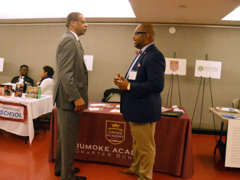 Dr. Troy A. Monroe and Senator Eric Coleman speak at the NECSN Charter School Awareness Day.